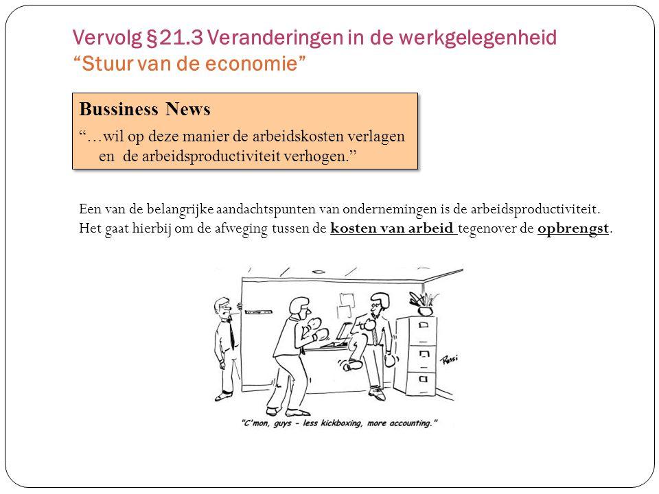 Vervolg §21.3 Veranderingen in de werkgelegenheid Stuur van de economie
