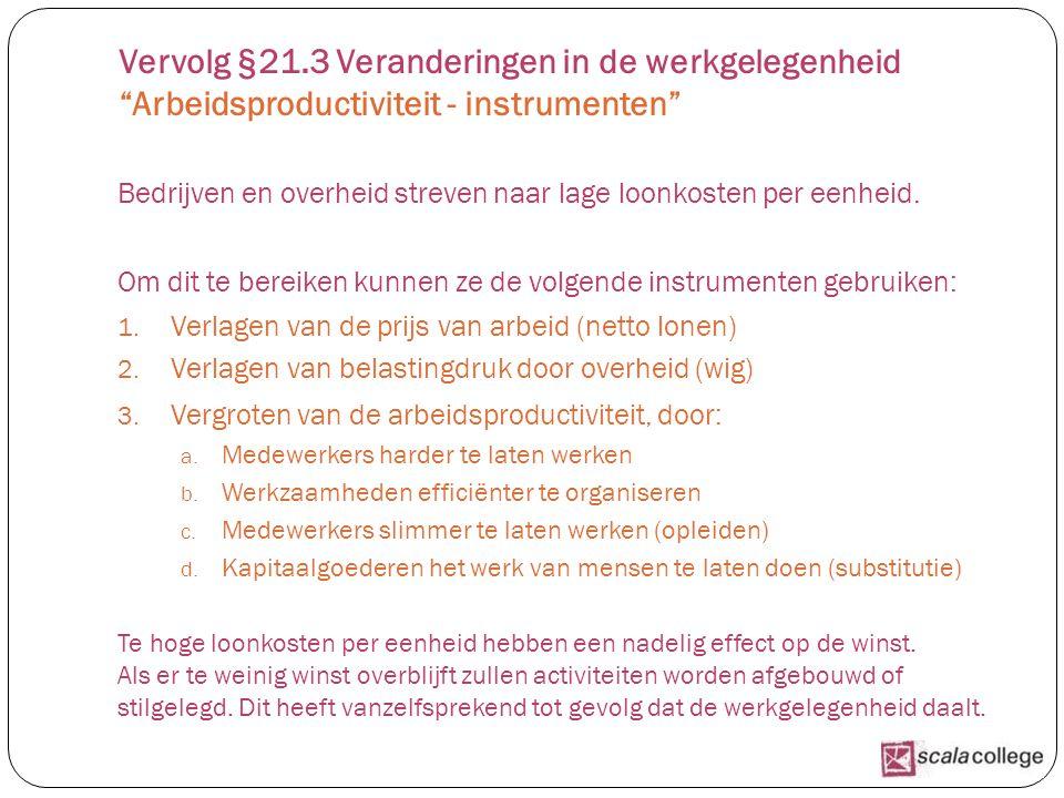 Vervolg §21.3 Veranderingen in de werkgelegenheid Arbeidsproductiviteit - instrumenten