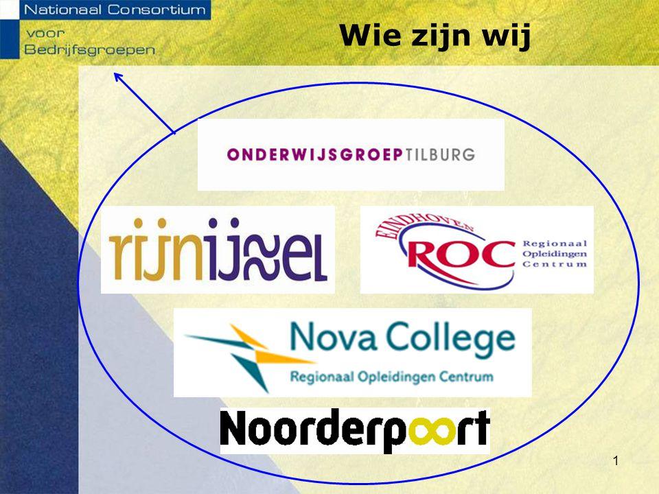 Wie zijn wij Dit zijn de 5 ROC's uit het Consortium (samenwerkingsverband) NCvB werkt landelijk.