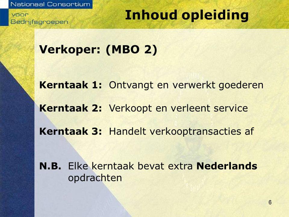 Inhoud opleiding Verkoper: (MBO 2)