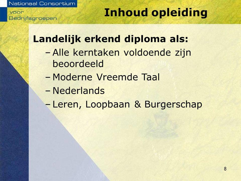 Inhoud opleiding Landelijk erkend diploma als: