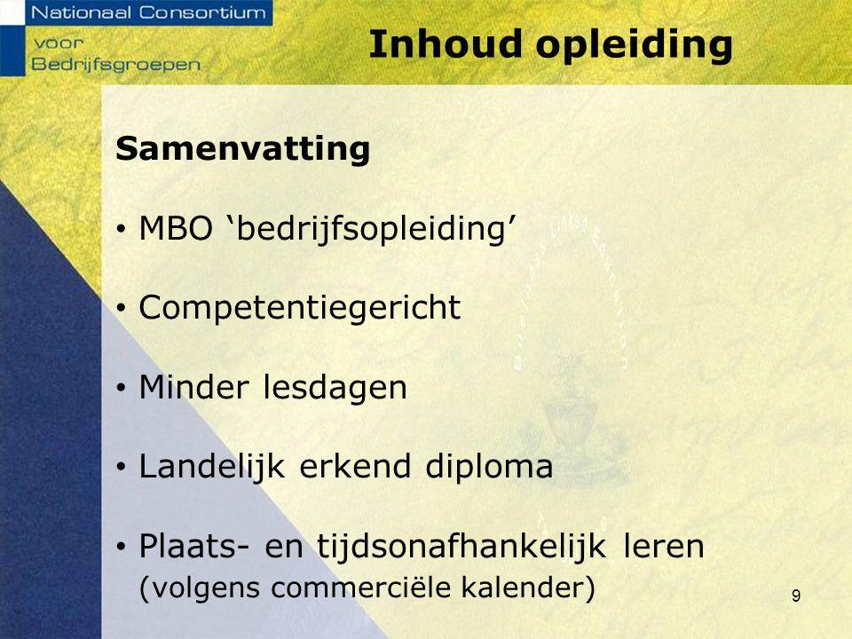 Inhoud opleiding Samenvatting MBO 'bedrijfsopleiding'
