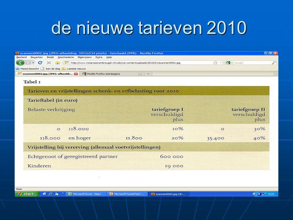 de nieuwe tarieven 2010