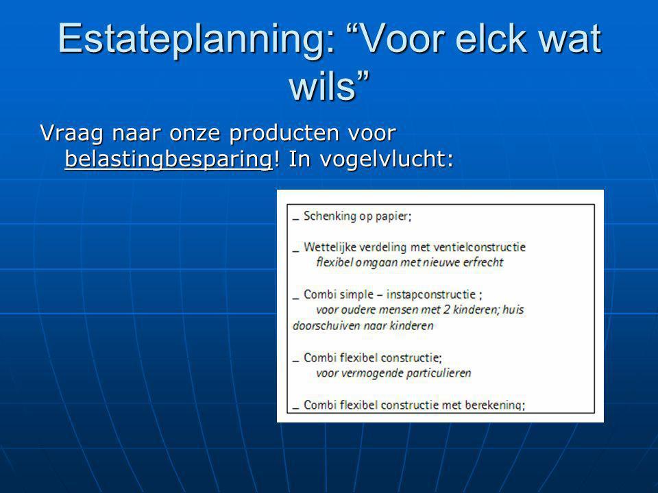 Estateplanning: Voor elck wat wils