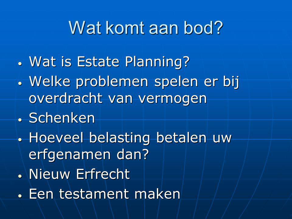 Wat komt aan bod Wat is Estate Planning