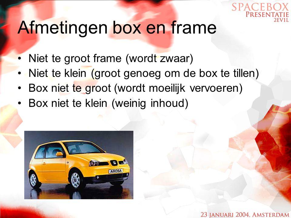 Afmetingen box en frame