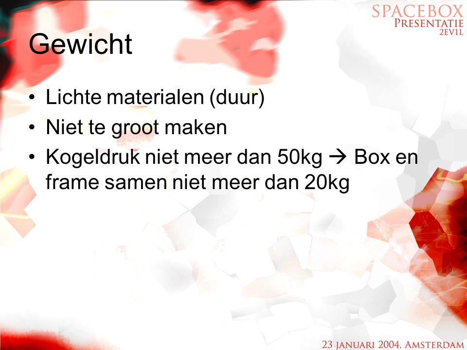 Gewicht Lichte materialen (duur) Niet te groot maken
