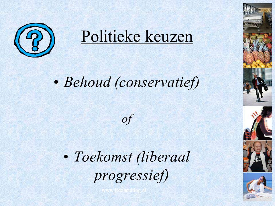 Politieke keuzen Behoud (conservatief) Toekomst (liberaal progressief)