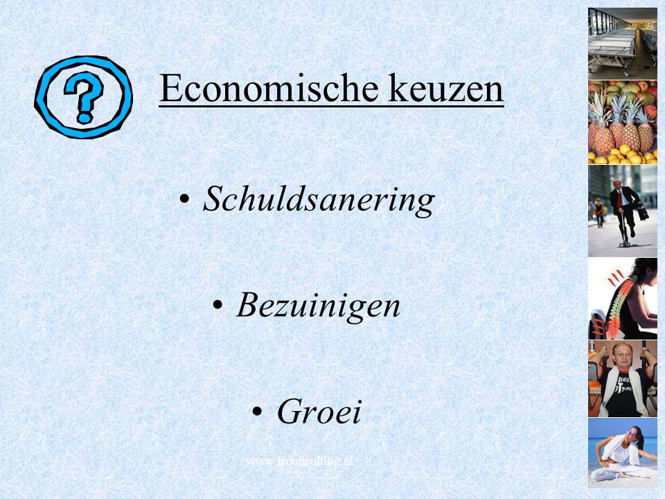 Economische keuzen Schuldsanering Bezuinigen Groei www.lrconsulting.nl