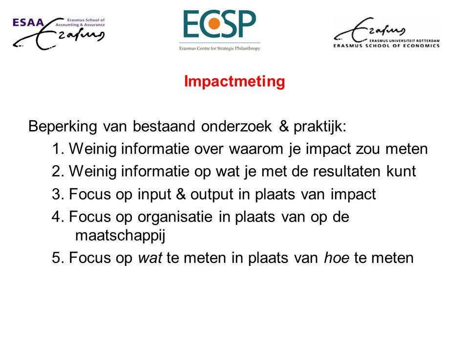 Impactmeting Beperking van bestaand onderzoek & praktijk: 1. Weinig informatie over waarom je impact zou meten.
