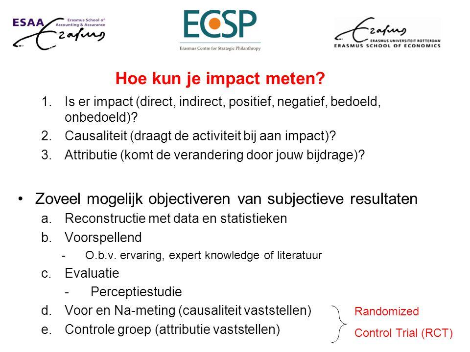 Hoe kun je impact meten Is er impact (direct, indirect, positief, negatief, bedoeld, onbedoeld) Causaliteit (draagt de activiteit bij aan impact)