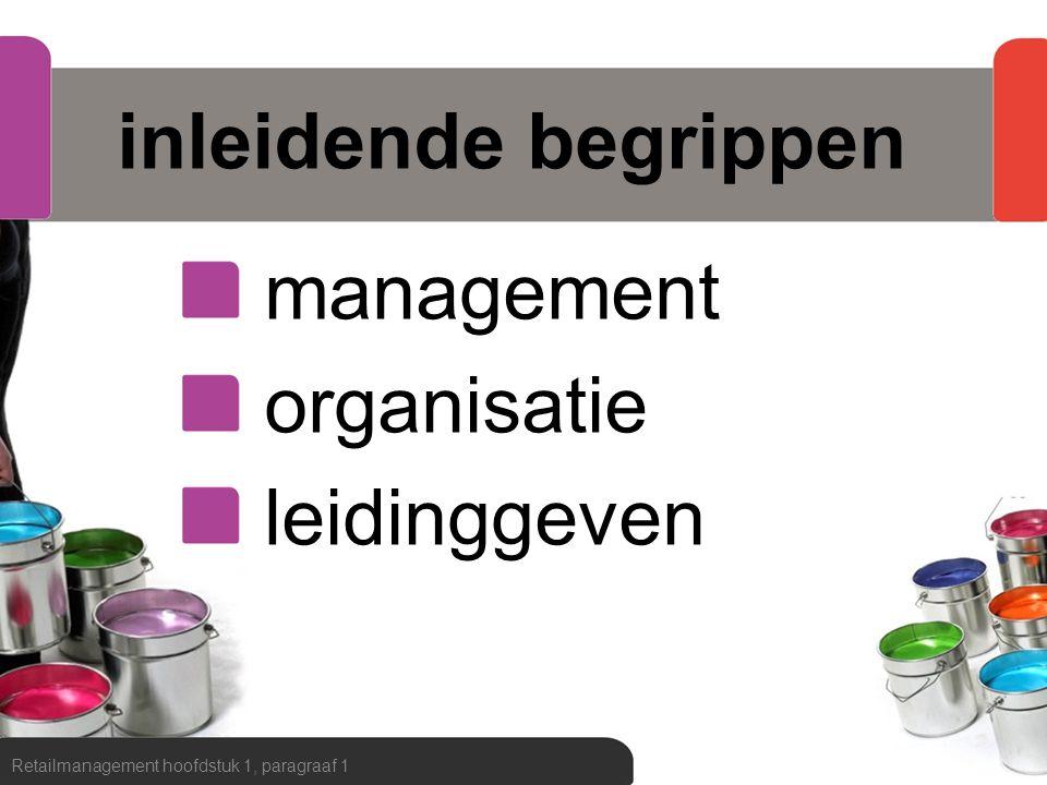 inleidende begrippen management organisatie leidinggeven