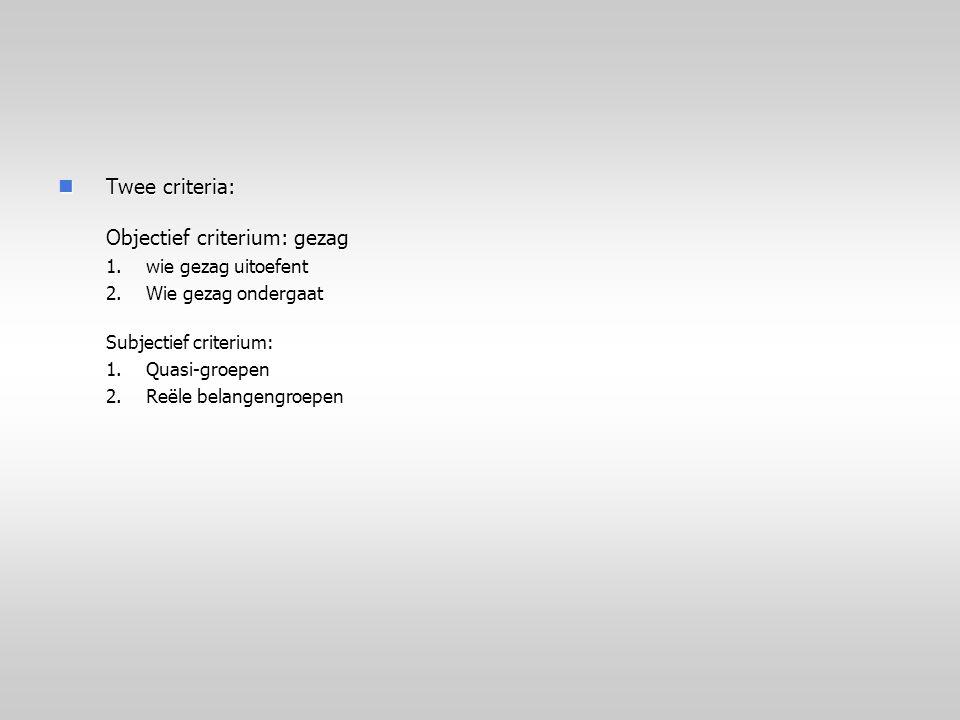 Twee criteria: Objectief criterium: gezag