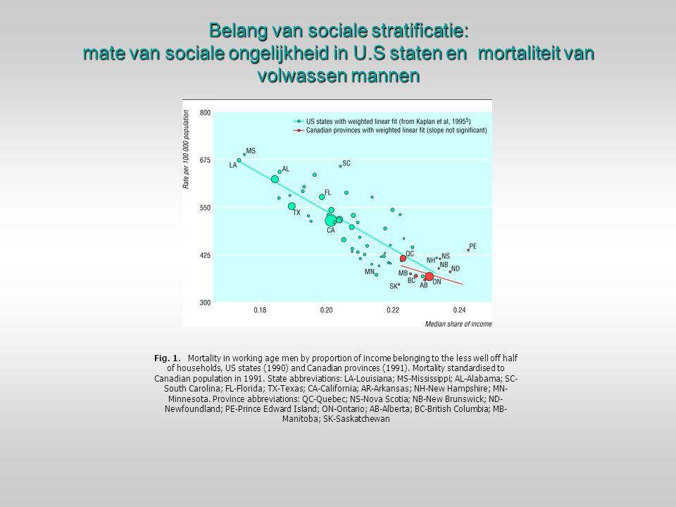 Belang van sociale stratificatie: mate van sociale ongelijkheid in U