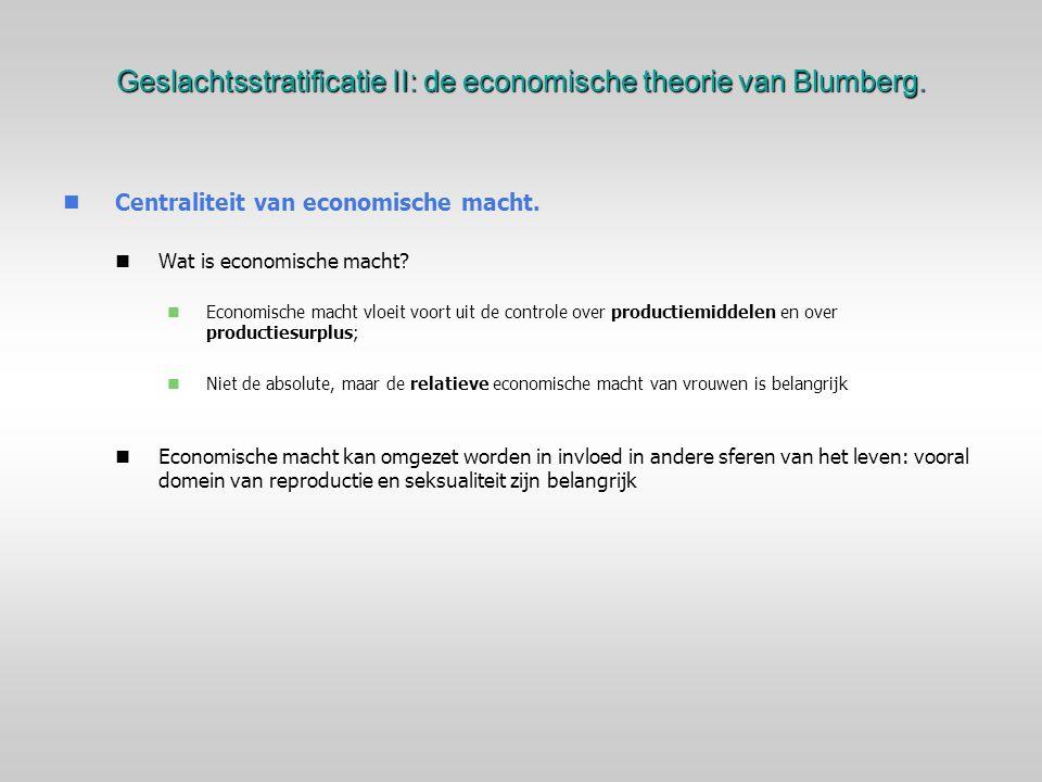 Geslachtsstratificatie II: de economische theorie van Blumberg.