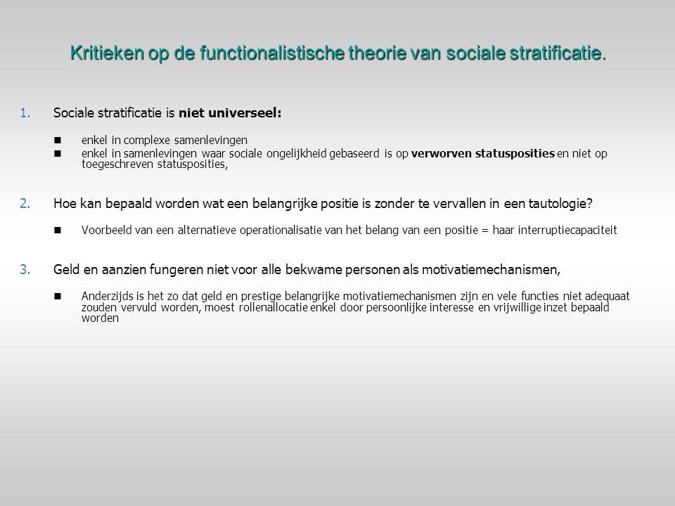 Kritieken op de functionalistische theorie van sociale stratificatie.