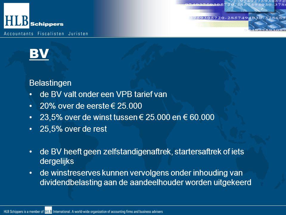 BV Belastingen de BV valt onder een VPB tarief van