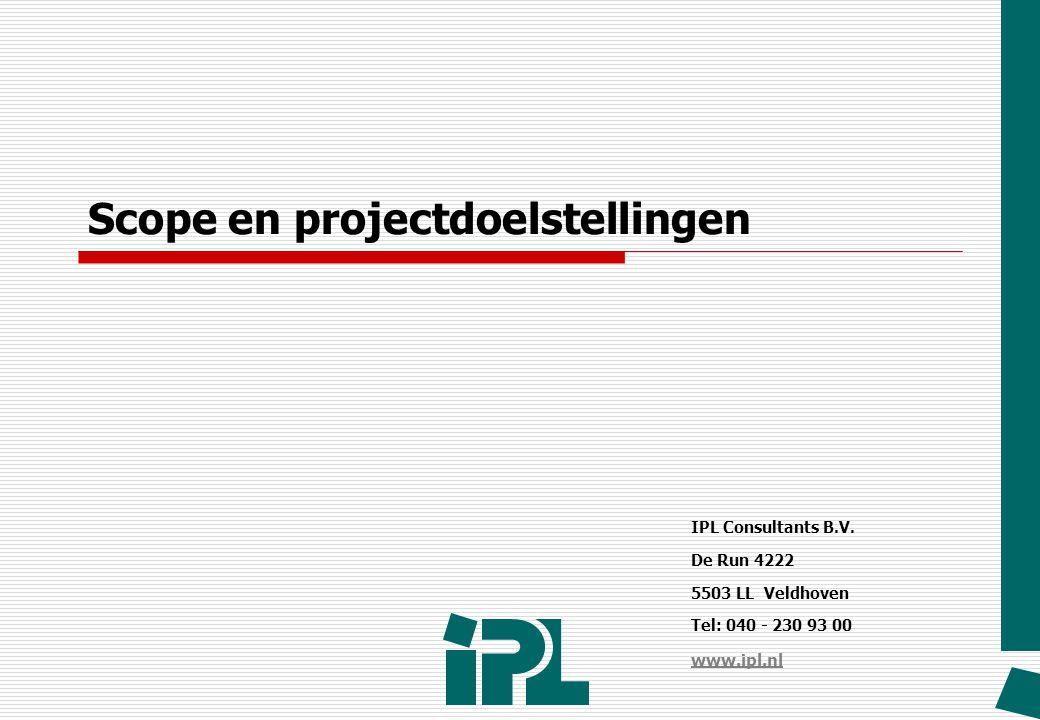 Scope en projectdoelstellingen