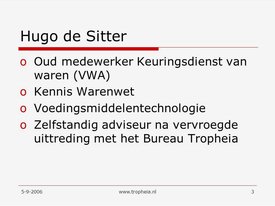 Hugo de Sitter Oud medewerker Keuringsdienst van waren (VWA)