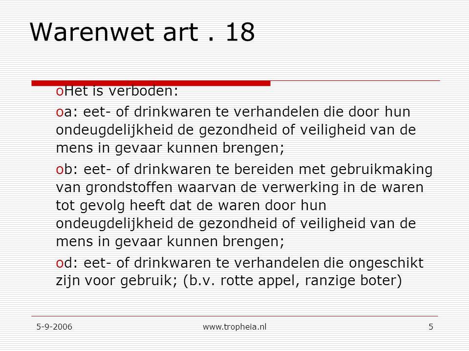 Warenwet art . 18 Het is verboden: