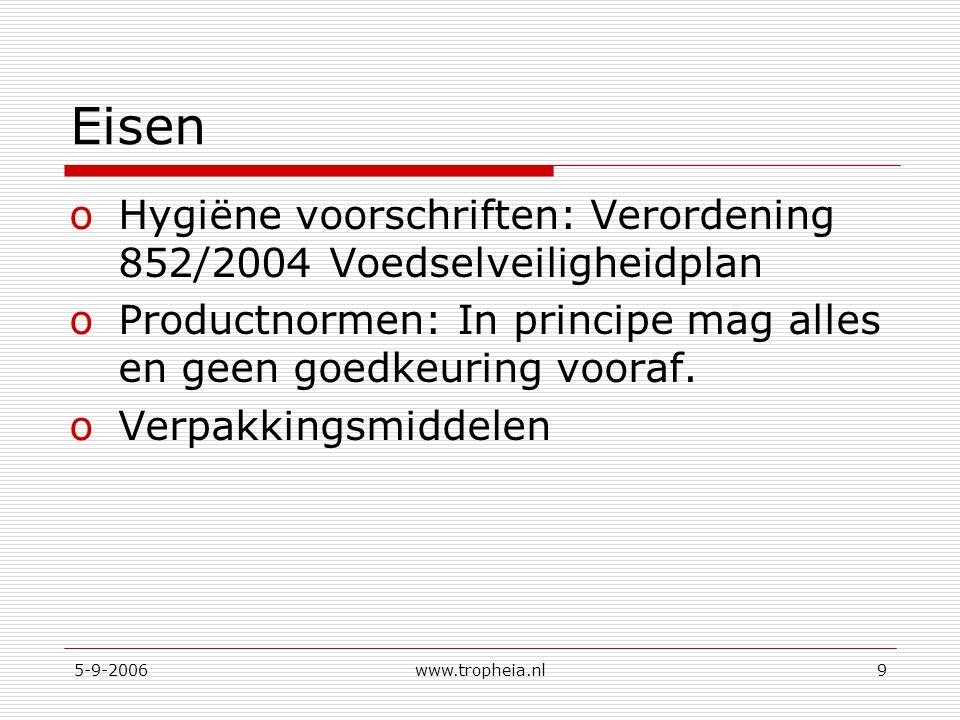 Eisen Hygiëne voorschriften: Verordening 852/2004 Voedselveiligheidplan. Productnormen: In principe mag alles en geen goedkeuring vooraf.