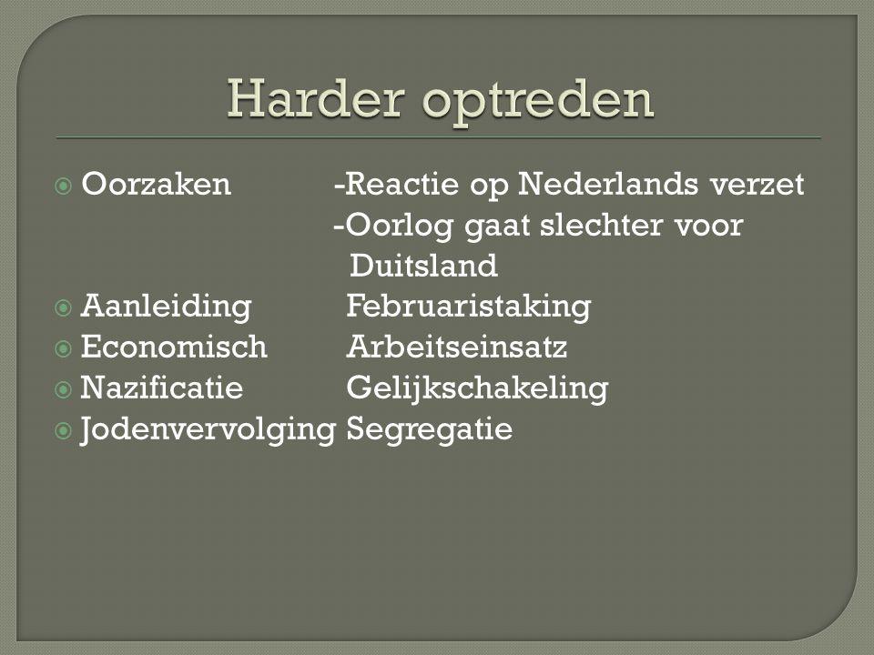 Harder optreden Oorzaken -Reactie op Nederlands verzet