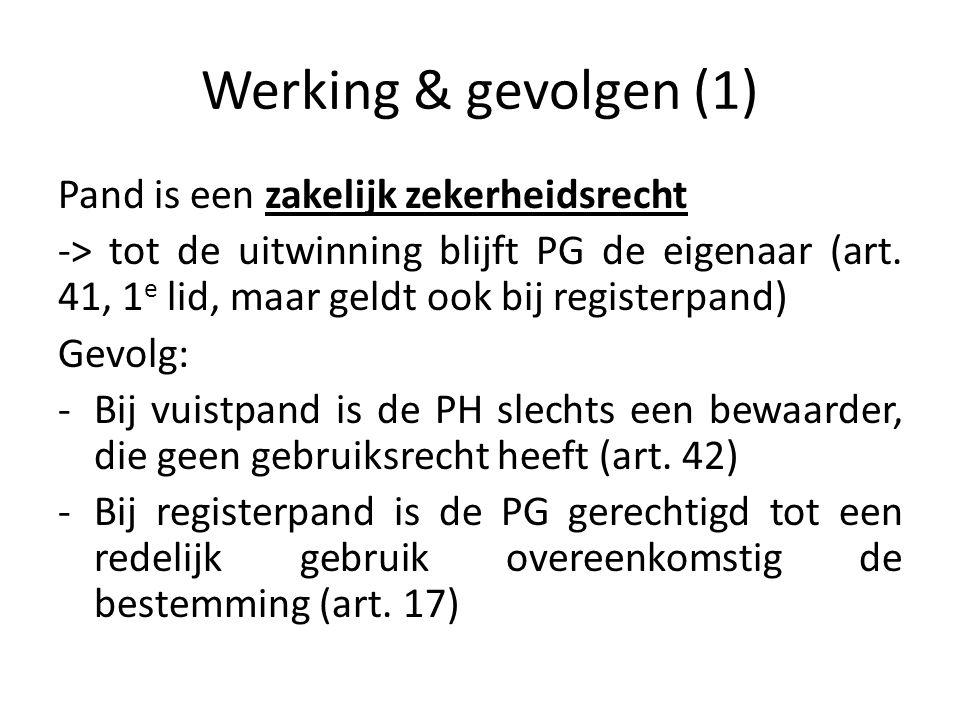 Werking & gevolgen (1) Pand is een zakelijk zekerheidsrecht