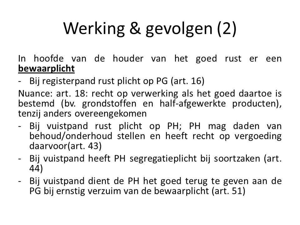 Werking & gevolgen (2) In hoofde van de houder van het goed rust er een bewaarplicht. Bij registerpand rust plicht op PG (art. 16)