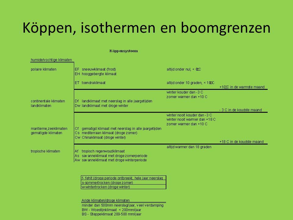 Köppen, isothermen en boomgrenzen