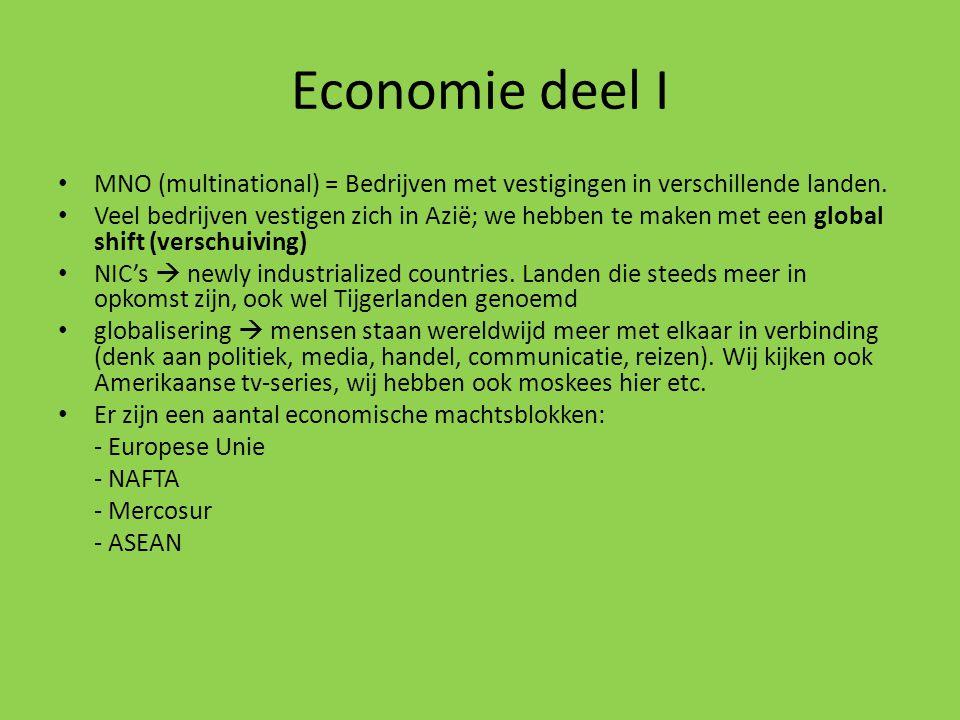 Economie deel I MNO (multinational) = Bedrijven met vestigingen in verschillende landen.