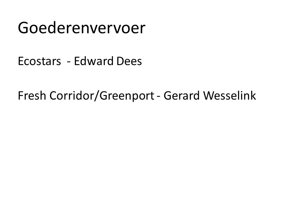 Goederenvervoer Ecostars - Edward Dees Fresh Corridor/Greenport - Gerard Wesselink