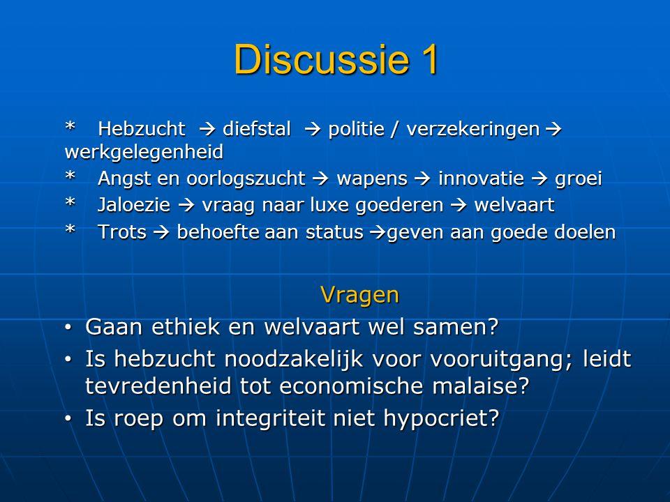 Discussie 1 Vragen Gaan ethiek en welvaart wel samen