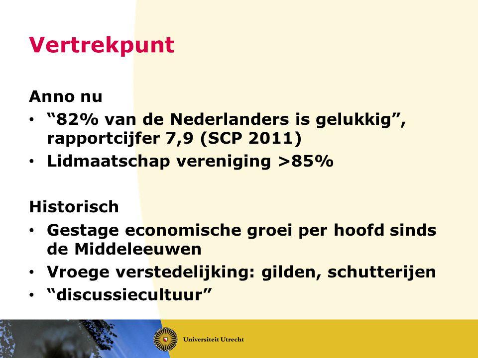 Vertrekpunt Anno nu. 82% van de Nederlanders is gelukkig , rapportcijfer 7,9 (SCP 2011) Lidmaatschap vereniging >85%