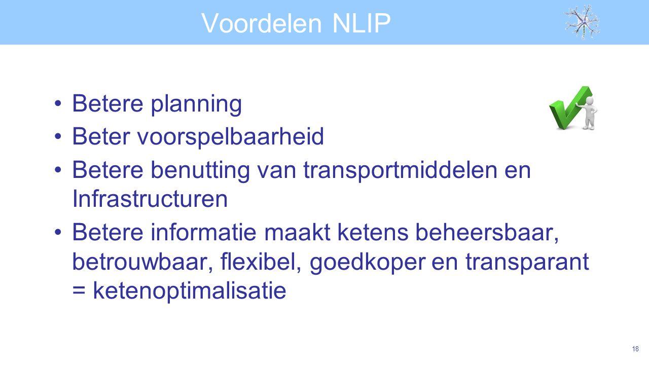 Voordelen NLIP Betere planning Beter voorspelbaarheid