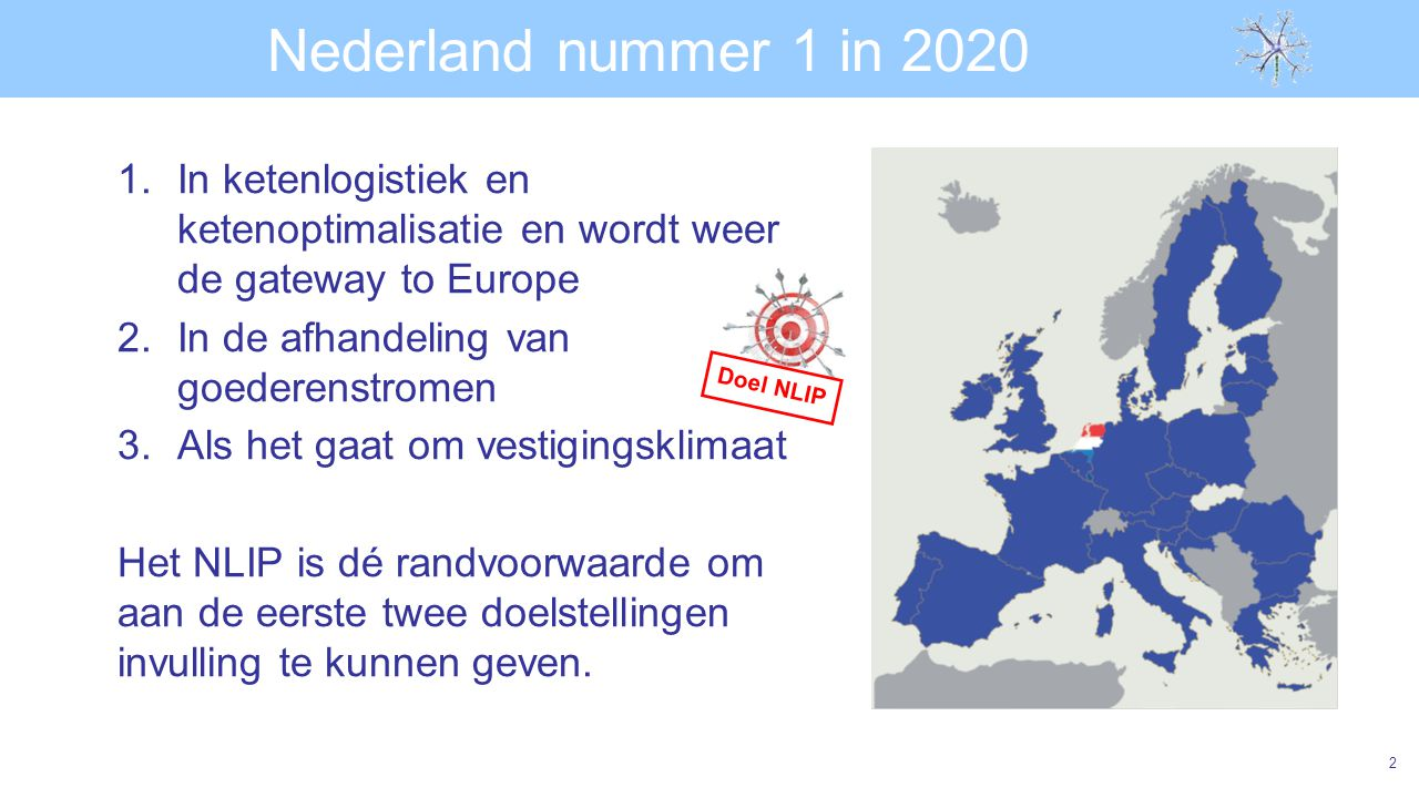 Nederland nummer 1 in 2020 In ketenlogistiek en ketenoptimalisatie en wordt weer de gateway to Europe.