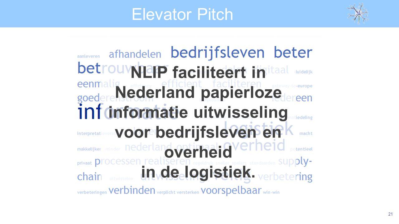 Elevator Pitch NLIP faciliteert in Nederland papierloze informatie uitwisseling voor bedrijfsleven en overheid.