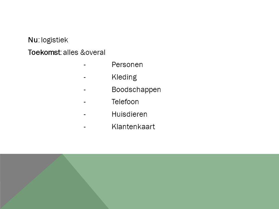 Nu: logistiek Toekomst: alles &overal - Personen - Kleding - Boodschappen - Telefoon - Huisdieren - Klantenkaart