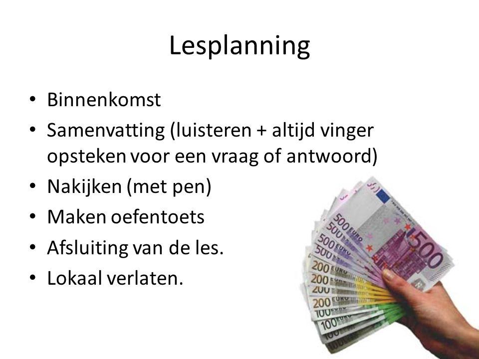 Lesplanning Binnenkomst