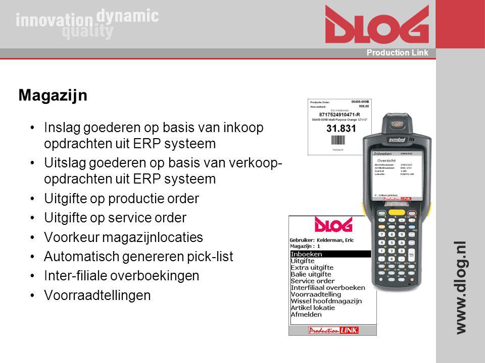 Magazijn Inslag goederen op basis van inkoop opdrachten uit ERP systeem. Uitslag goederen op basis van verkoop- opdrachten uit ERP systeem.
