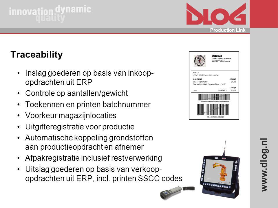 Traceability Inslag goederen op basis van inkoop- opdrachten uit ERP