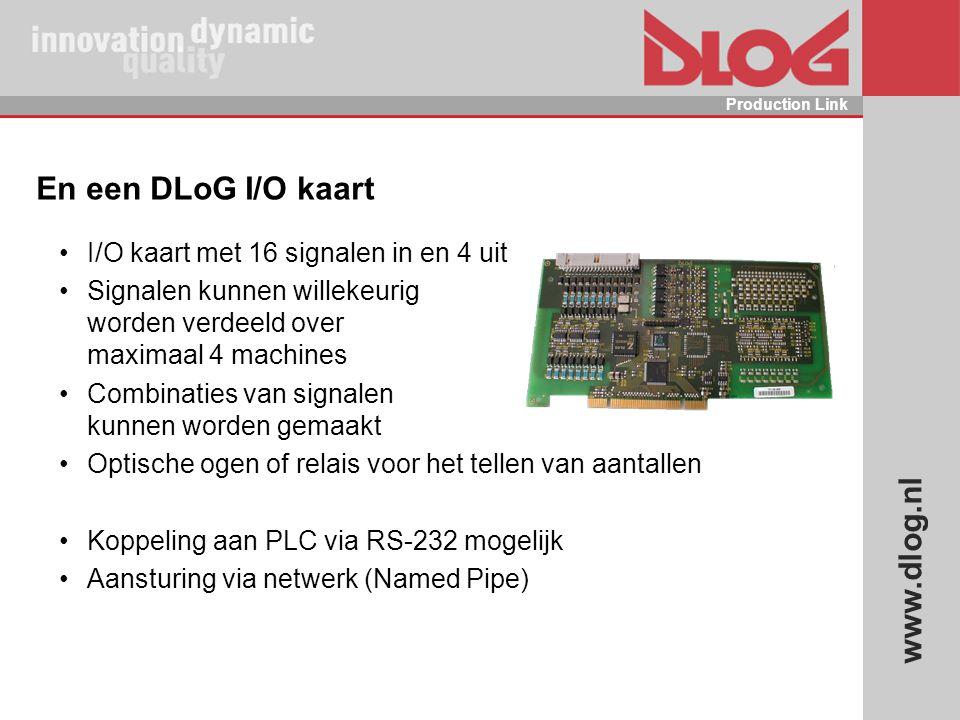 En een DLoG I/O kaart I/O kaart met 16 signalen in en 4 uit