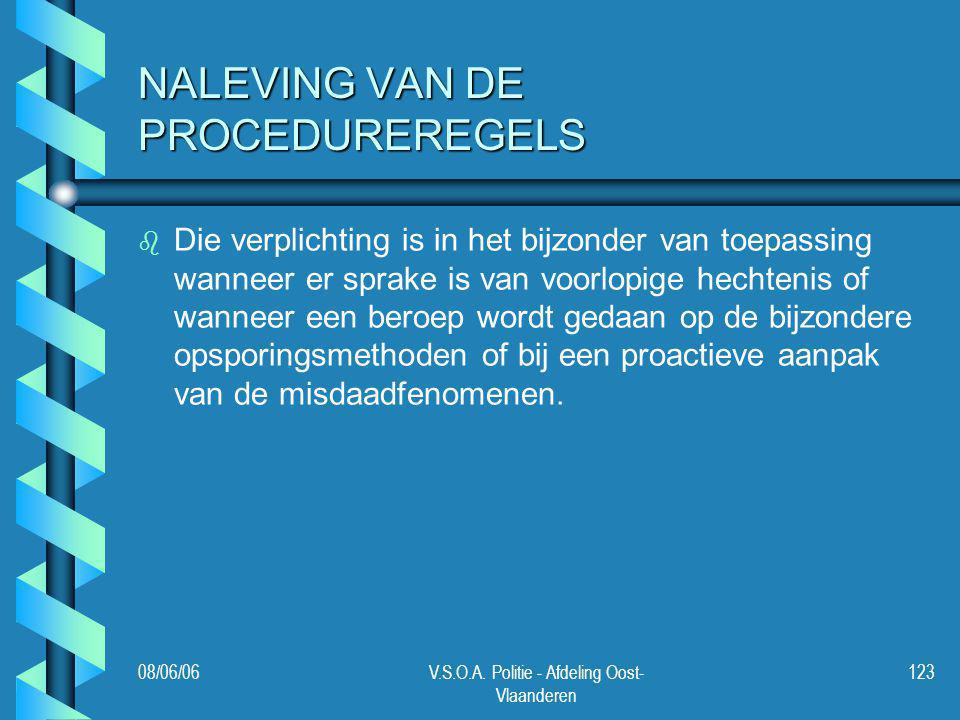 NALEVING VAN DE PROCEDUREREGELS