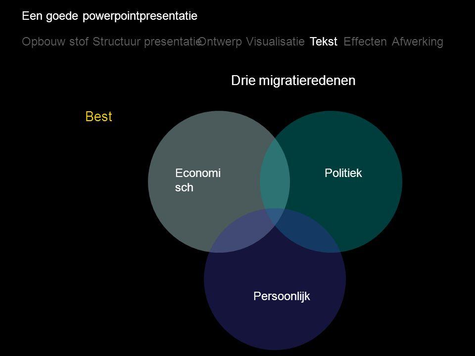 Drie migratieredenen Best Een goede powerpointpresentatie Opbouw stof