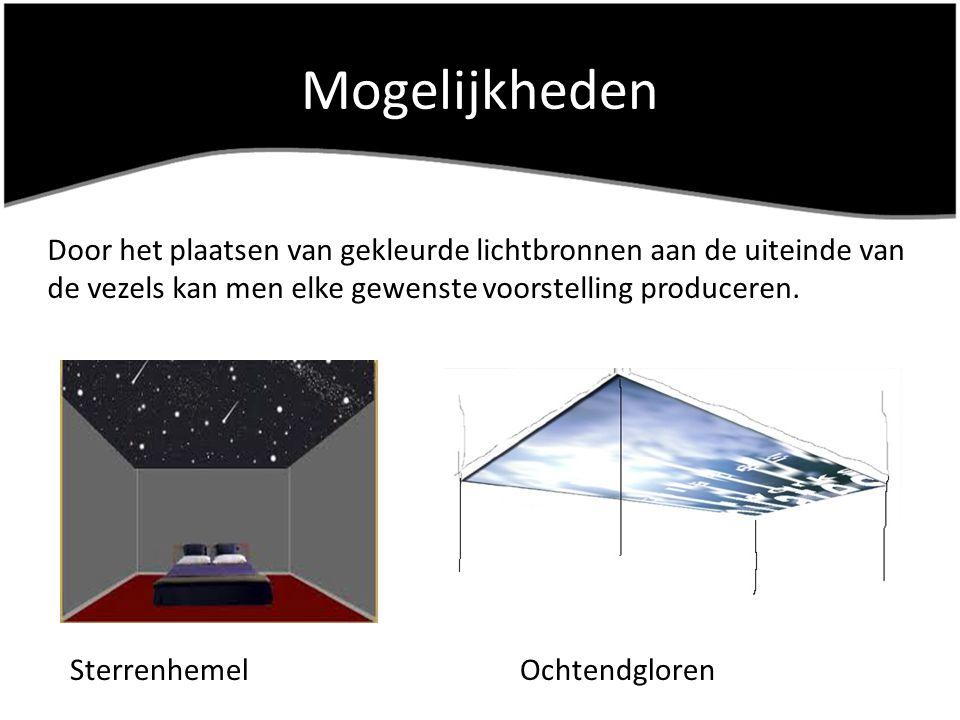Mogelijkheden Door het plaatsen van gekleurde lichtbronnen aan de uiteinde van de vezels kan men elke gewenste voorstelling produceren.