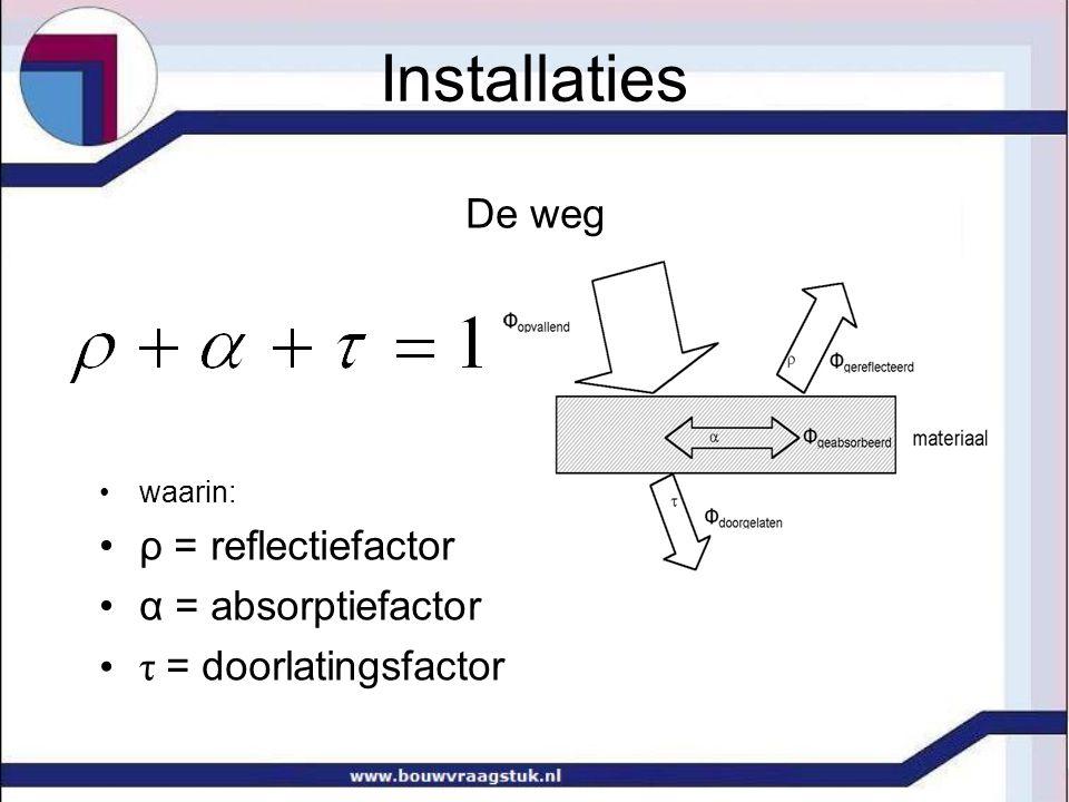 Installaties De weg ρ = reflectiefactor α = absorptiefactor