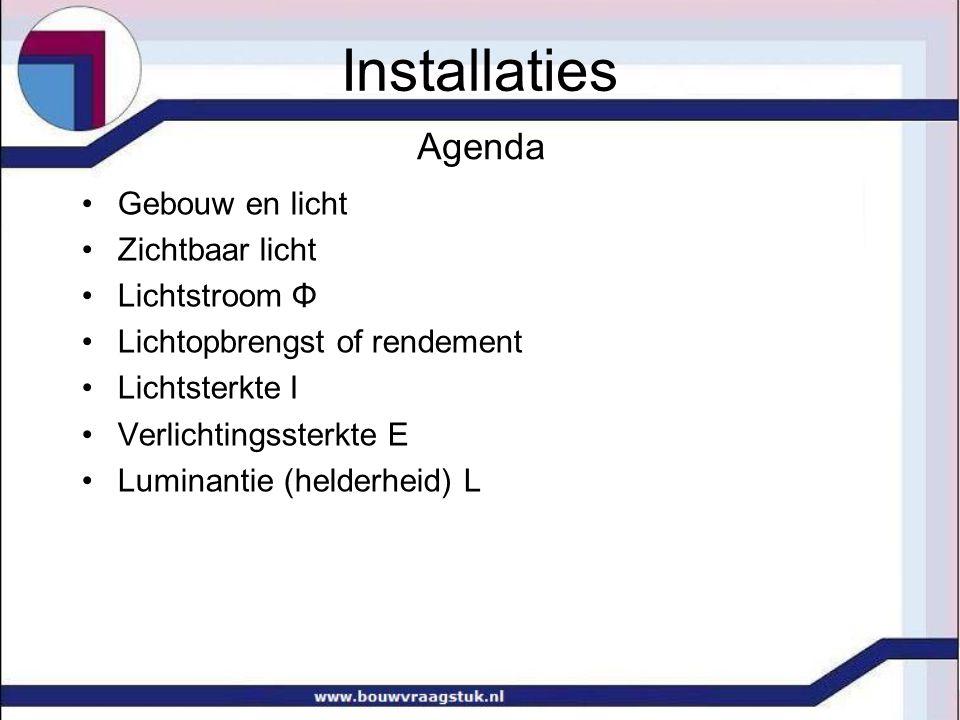 Installaties Agenda Gebouw en licht Zichtbaar licht Lichtstroom Φ