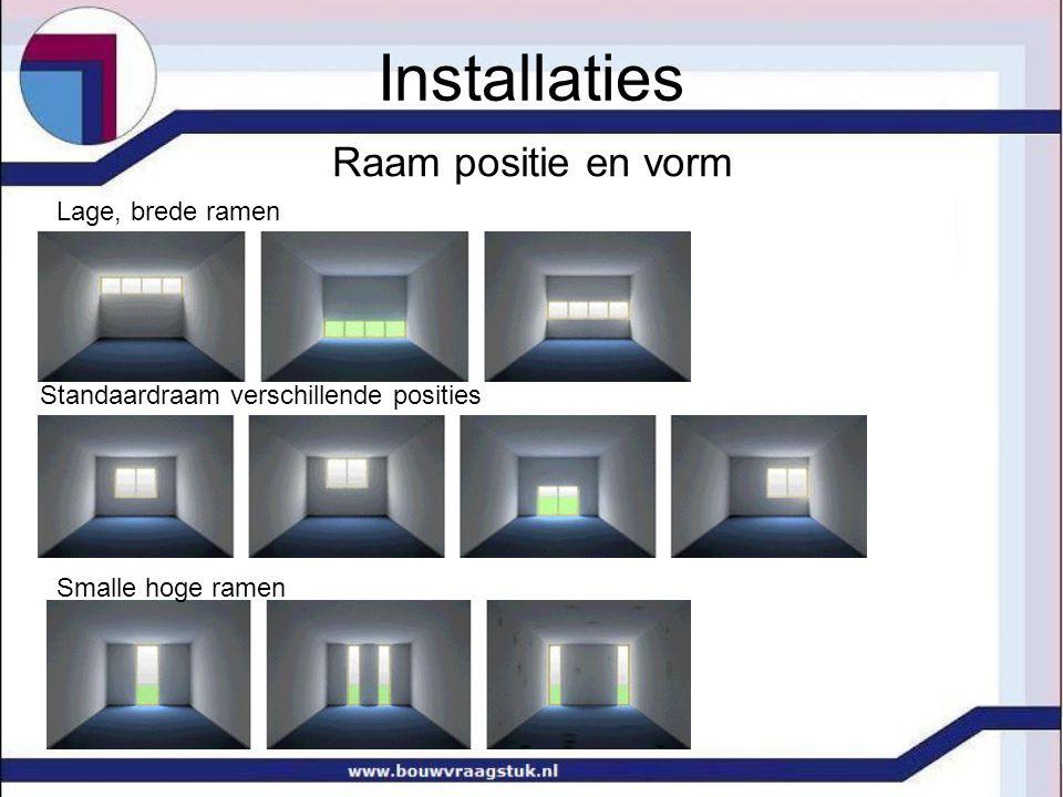 Installaties Raam positie en vorm Lage, brede ramen