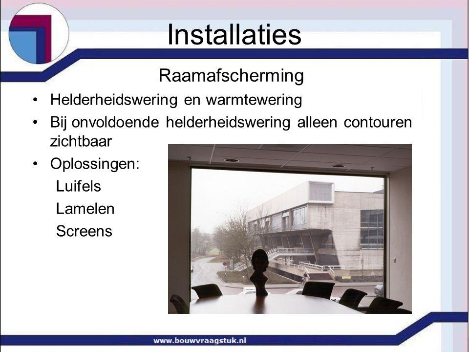 Installaties Raamafscherming Helderheidswering en warmtewering