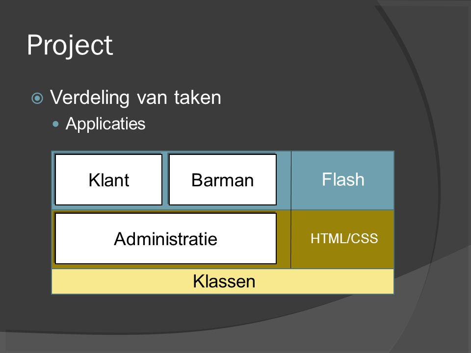 Project Verdeling van taken Klant Barman Flash Administratie Klassen