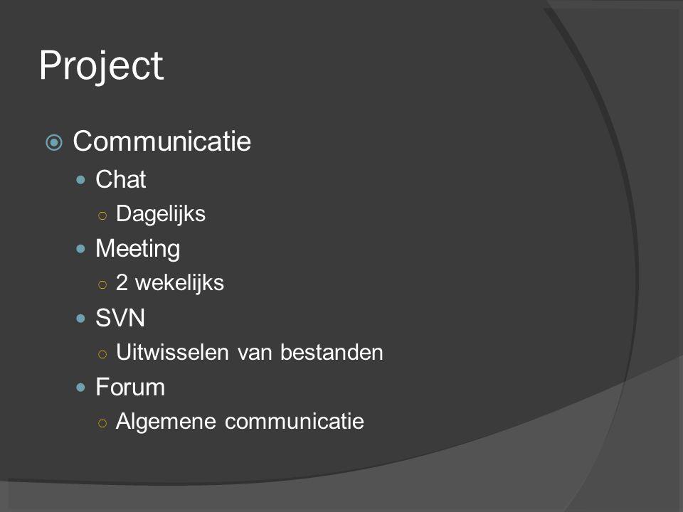 Project Communicatie Chat Meeting SVN Forum Dagelijks 2 wekelijks